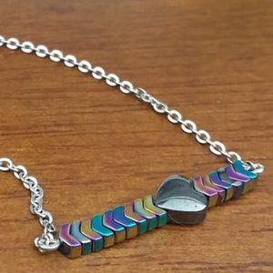 Hematite Heart & Arrow Silver Tone Necklace